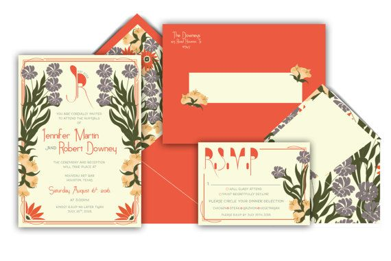 Art Nouveau Wedding Invitation Suite Wedding