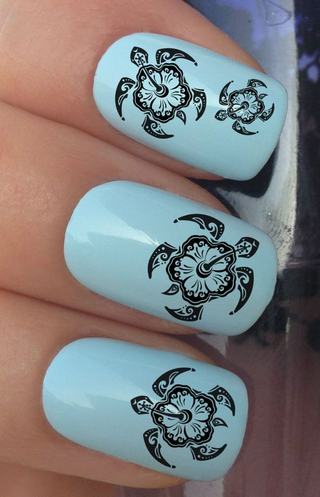 NAIL ART SET #332 x24 TRIBAL HIBISCUS SEA TURTLE WATER TRANSFER ...