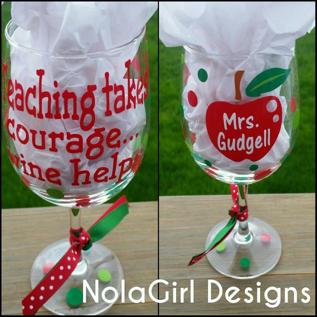 Teacher Wine Glass Personalized Teachers Aid After School