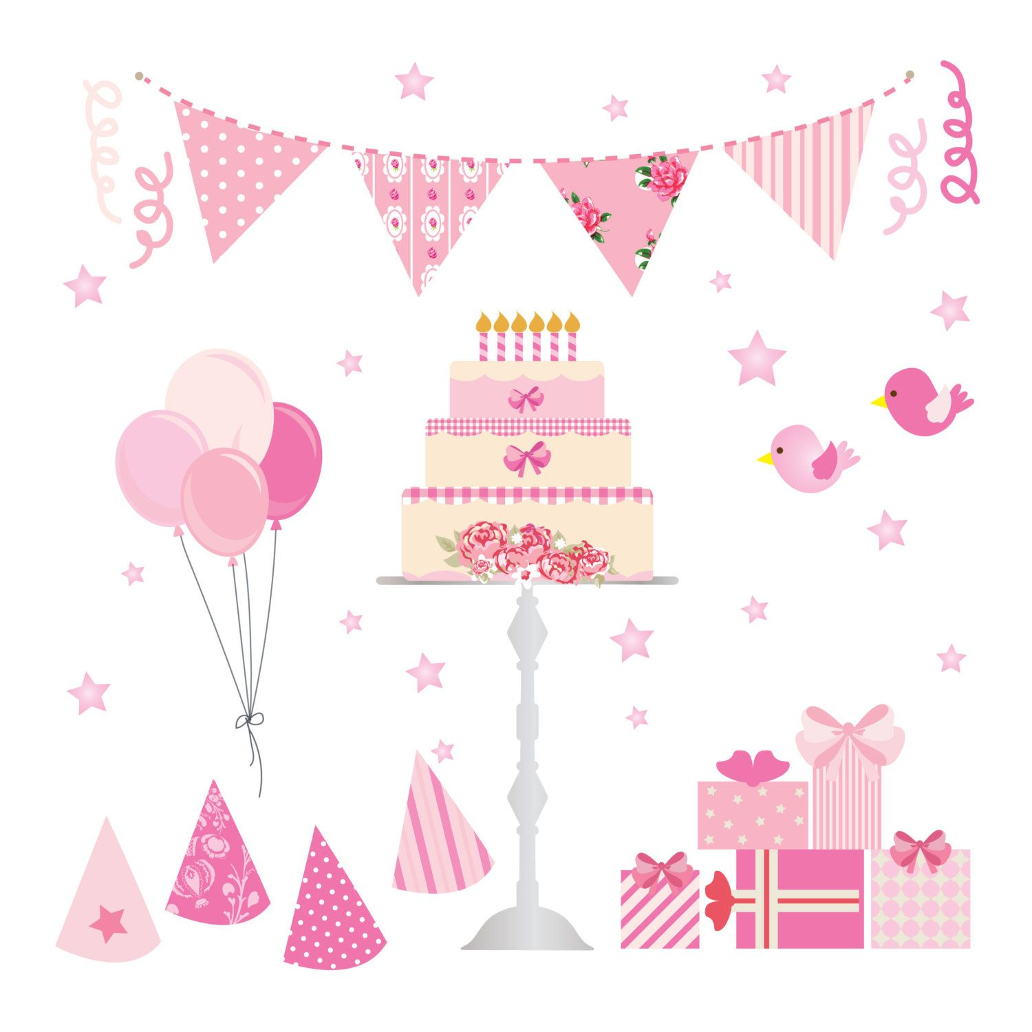 pink birthday party clip art