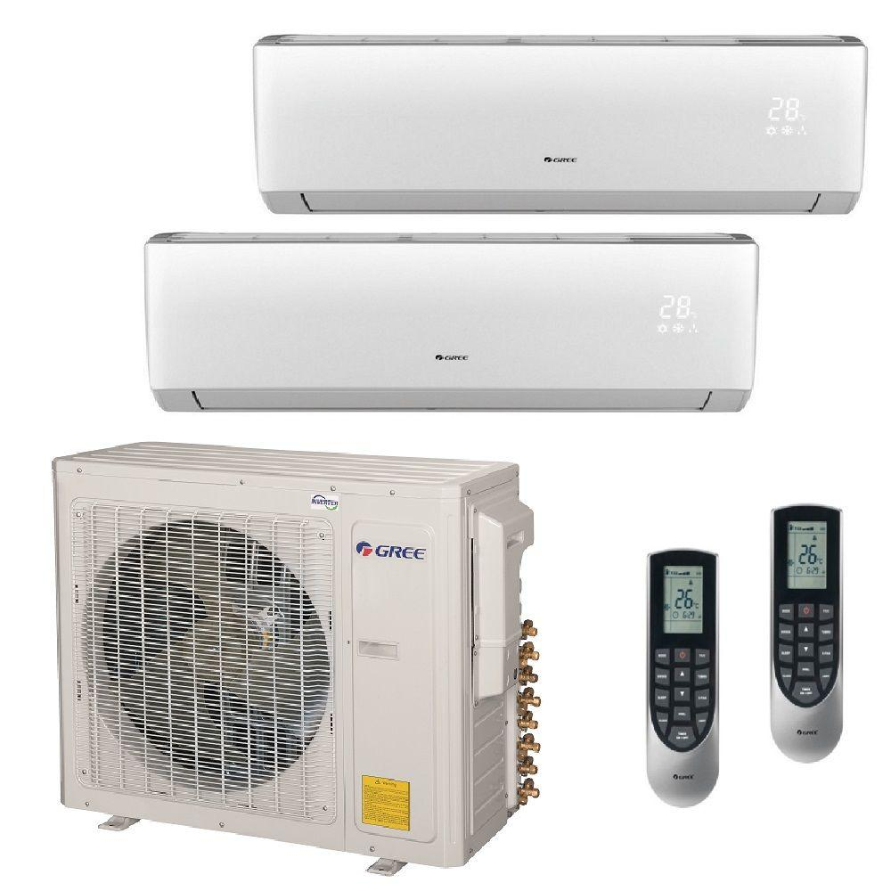 Gree Multi 21 Zone 29000 Btu Ductless Mini Split Air Conditioner With Heat Inverter And Remote 230 Volt Multi30hp204 The Home Depot Ductless Mini Split Small Portable Air Conditioner Portable Air Conditioner