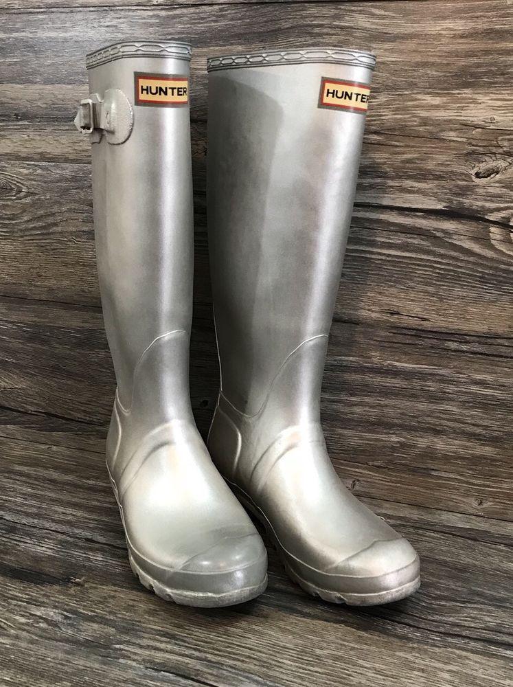 Distressed Box Womens Hunter Original Tall Gloss Rain Boots Navy Blue Size 7