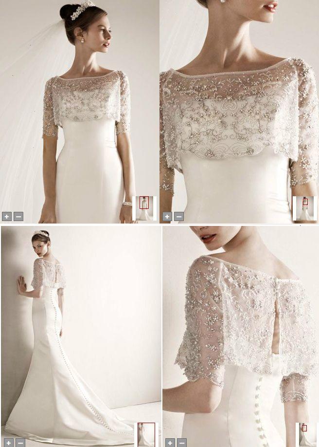 Oleg Cassini Satin Wedding Gown with Beaded Pop Over Jacket, Style ...