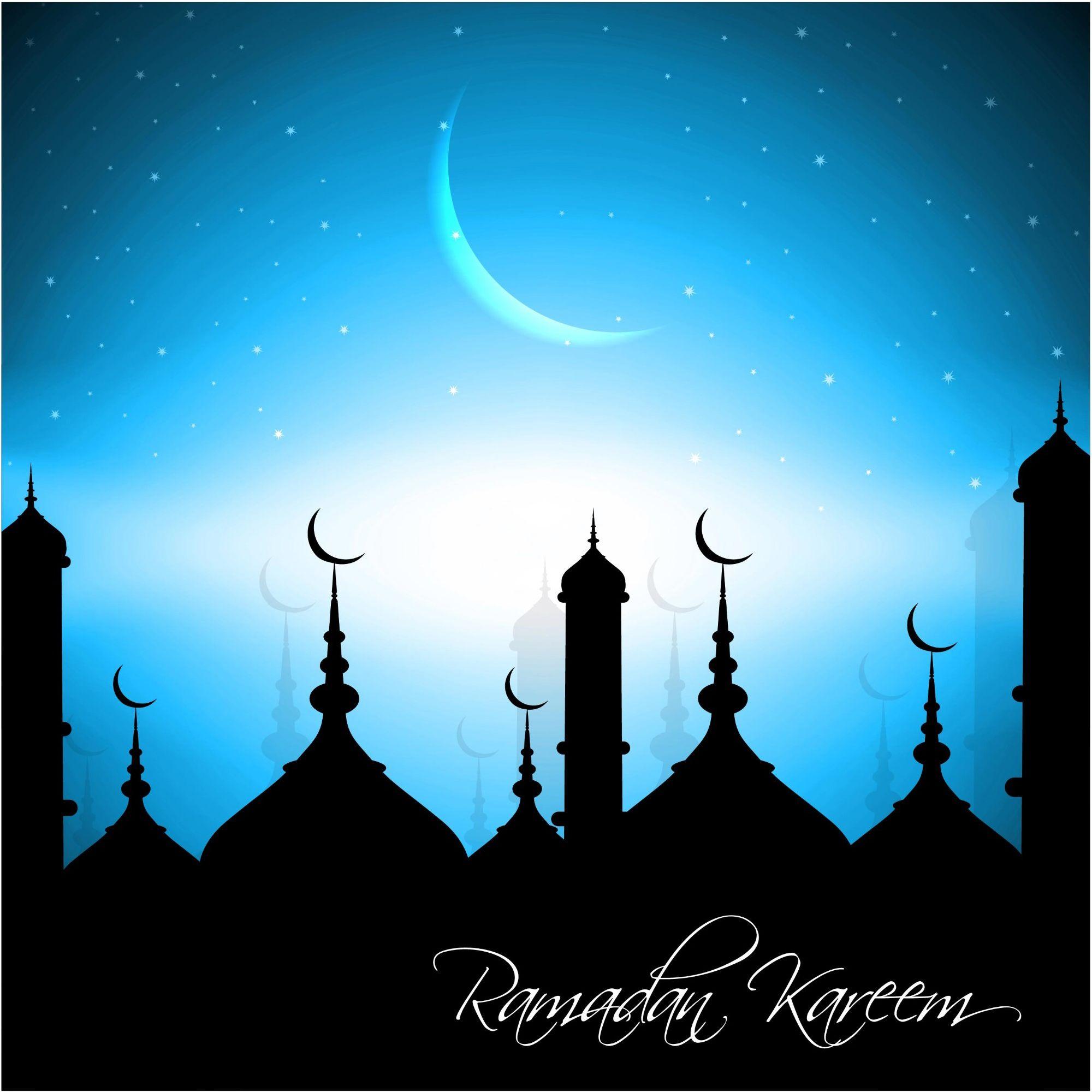 Cool Cold Design Ramadan Kareem Blue Background Image
