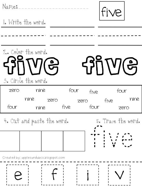 apples and abc 39 s number word printable vpk sight word worksheets sight word practice. Black Bedroom Furniture Sets. Home Design Ideas