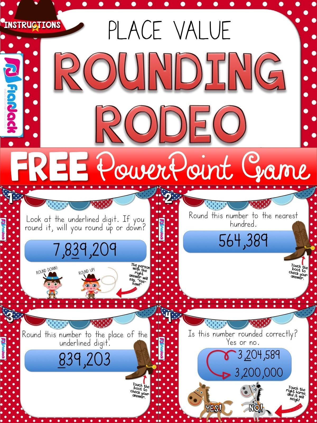 Rounding Rodeo Powerpoint Game Freebie For 4th Grade Elementary