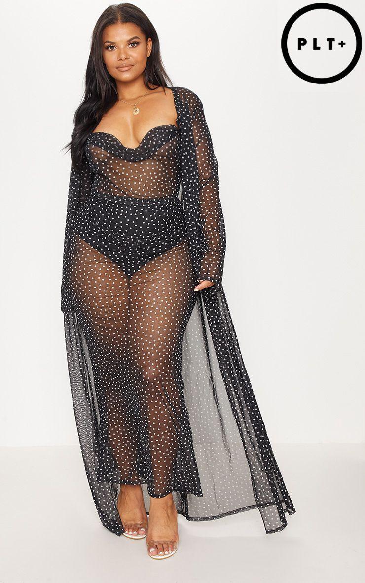 8197a4e63f Plus Black Mesh Polka Dot Maxi Kimono in 2019   - Fashion   Fashion ...