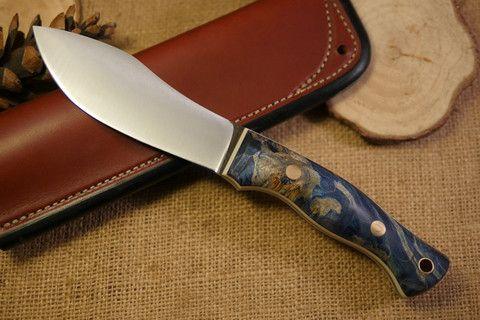 Custom Bushcraft Knife - Guide Model - Stabilized blue box elder burl #custom #survival #hiking #camping #knife