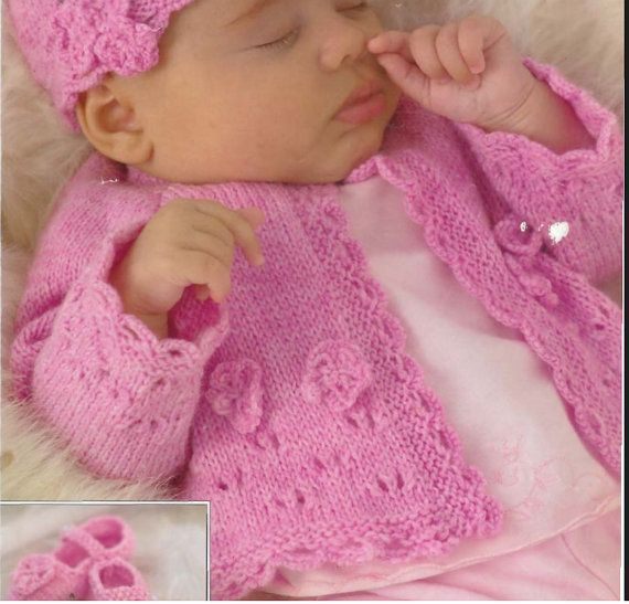 Knit Baby Jacket Cardigan Hat shoes  Pattern by OhhhBabyBaby