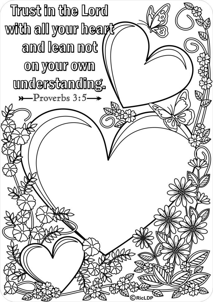 15 Printable Bible Verse Coloring Pages Bible, Trust and Journaling - new love heart coloring pages to print