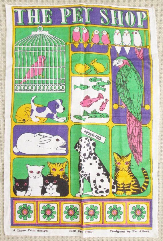 vintage pet shop linen towel Pat Albeck by vintagegoodies on Etsy