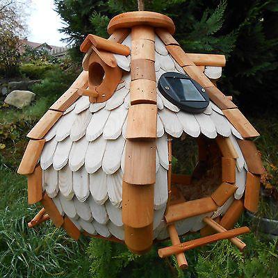 gro es luxus solar led licht vogelhaus holz bunt vogelfutterhaus vogelh uschen gartenideen. Black Bedroom Furniture Sets. Home Design Ideas