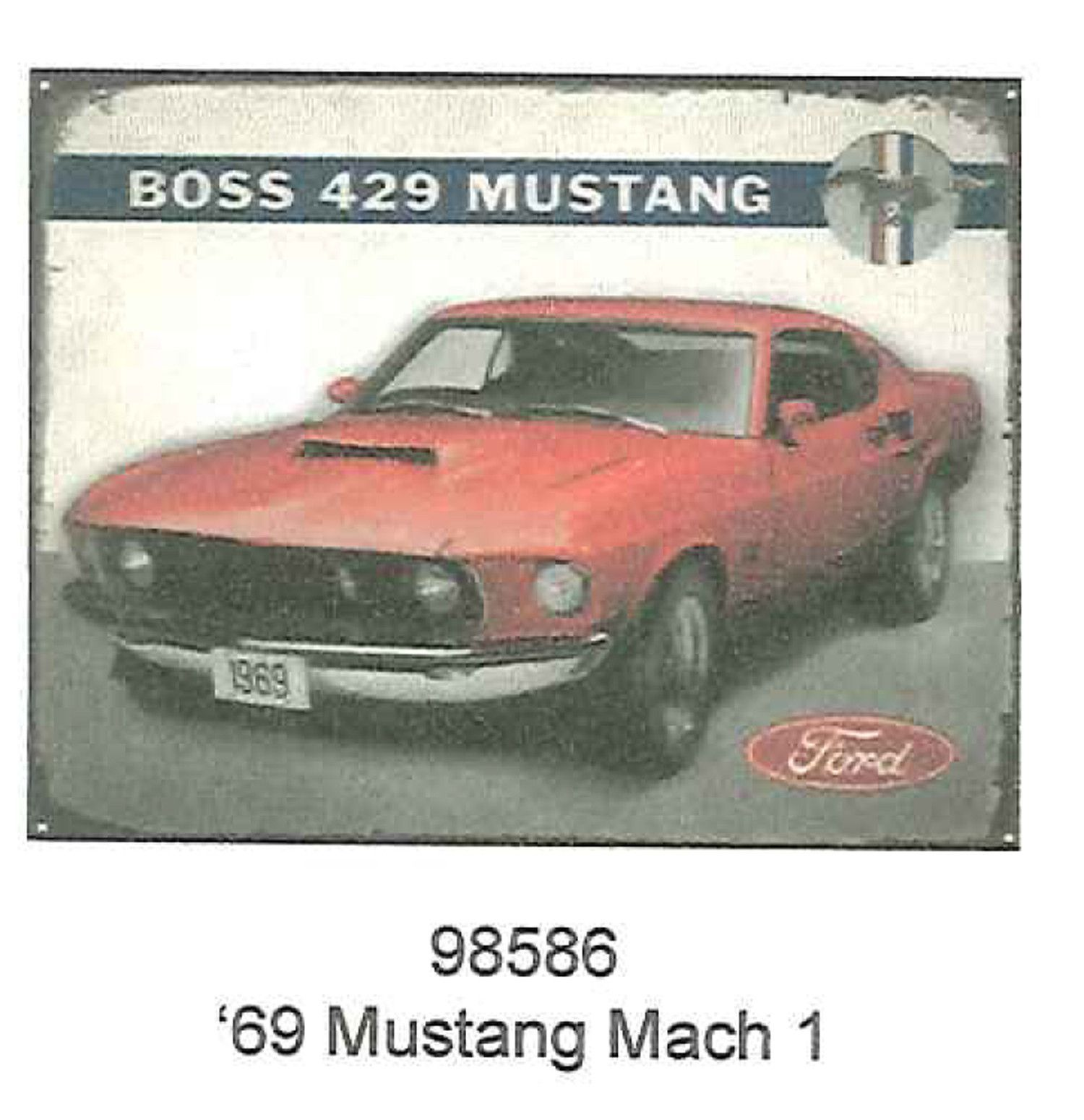 """1969 Boss 429 Mustang Mach 1 12"""" x 15"""" Tin Sign Great display piece Perfect for…"""