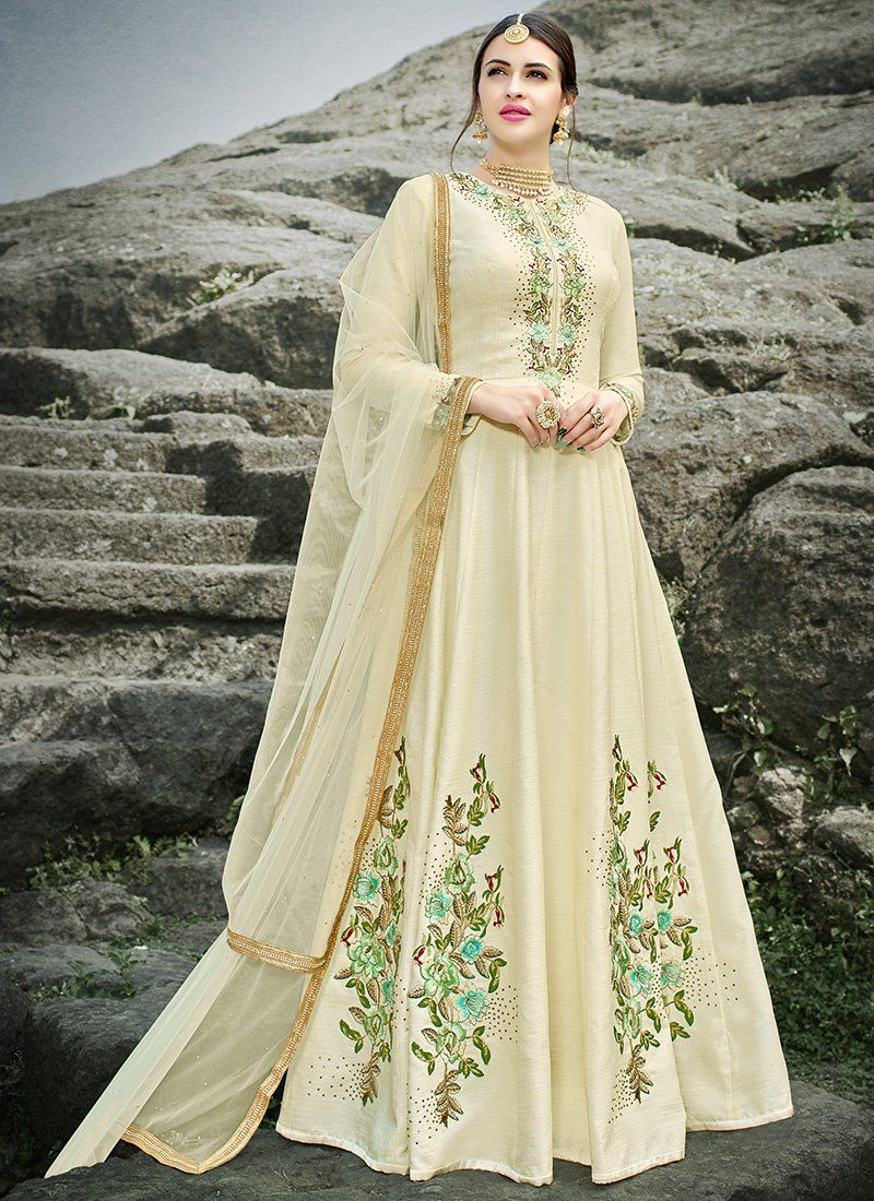 d54b0f670d Cream Floral Embroidered Silk Anarkali Suit features a gorgeous silk  anarkali suit alongside a crepe inner. A georgette dupatta completes the  look.