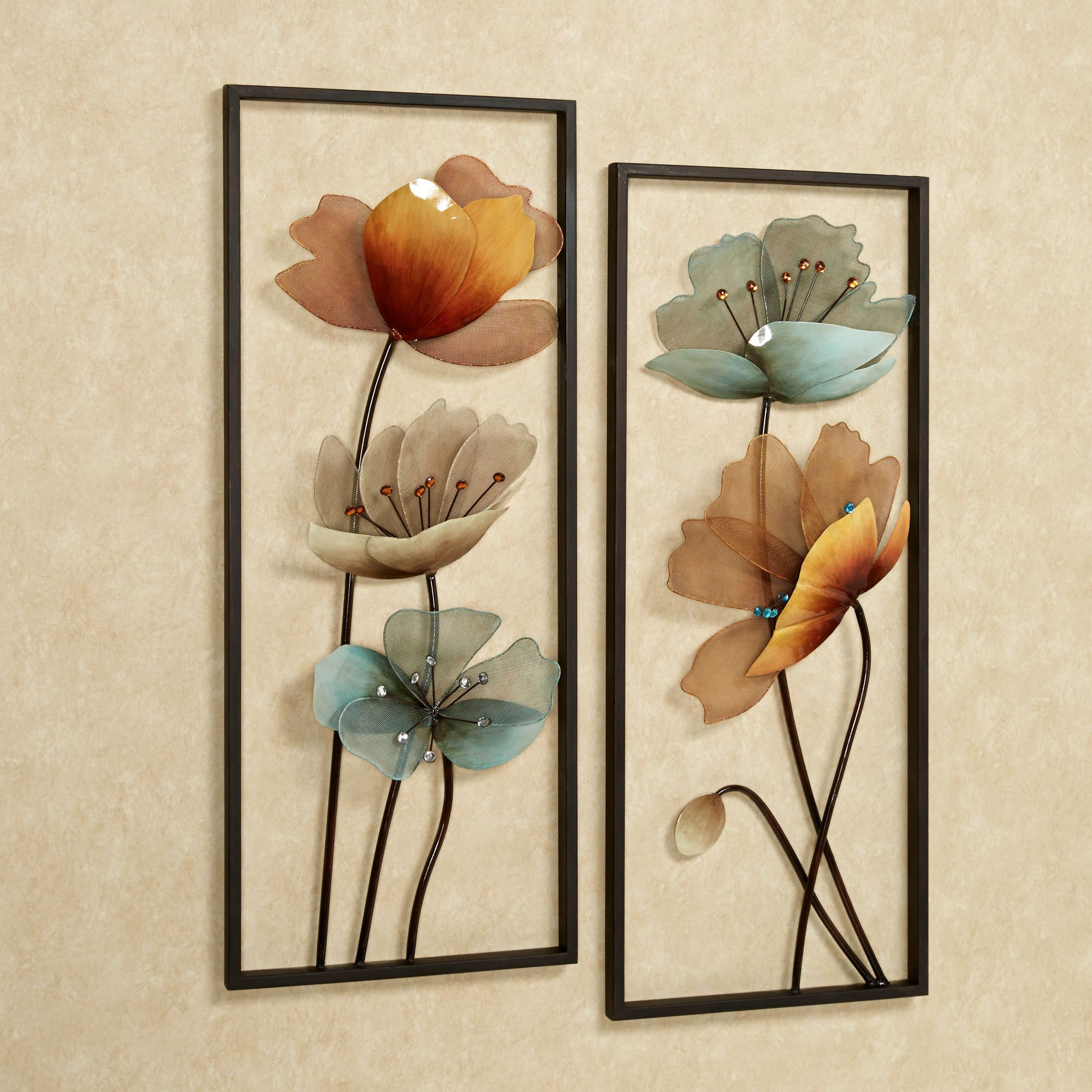 Art · Decorations, 2 Brown Tuscany Bloom Wall Art Panels Set Metal ...