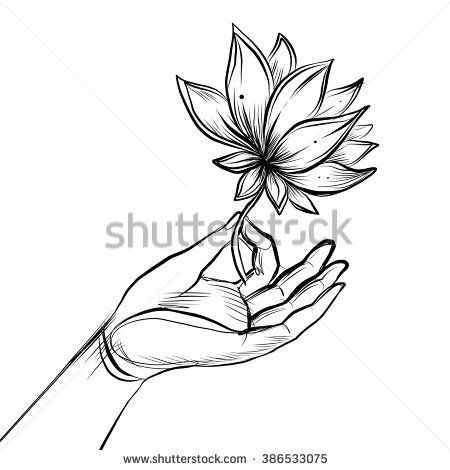 Lord Buddhas Hand Holding Lotus Flower Isolated Vector