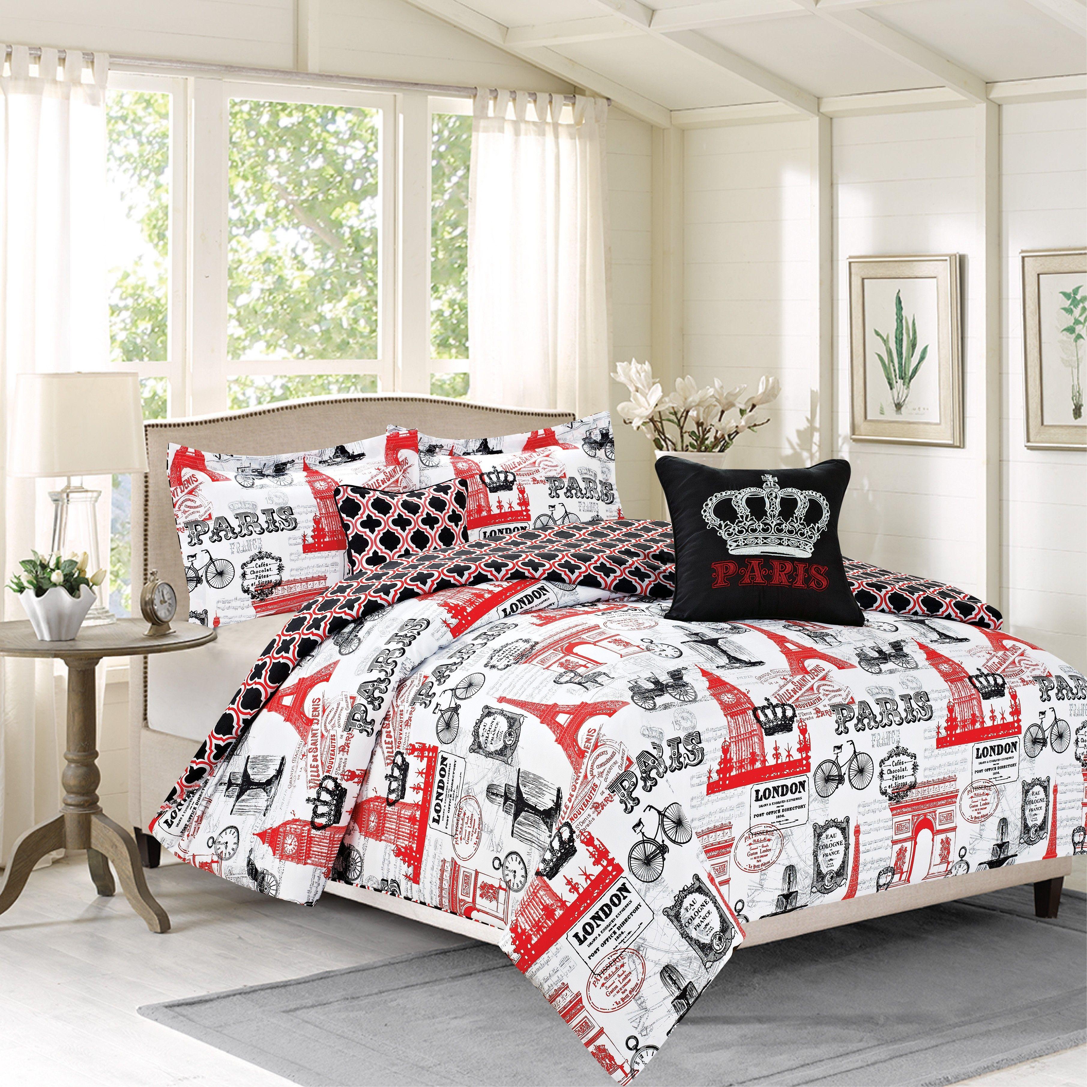 Crest Home Bon Voyage Bedding Queen 5 Pc forter Bed Set Paris