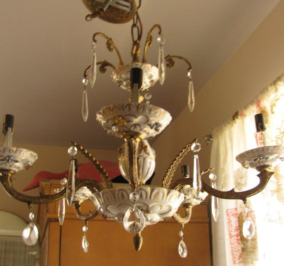 Vintage Spanish 1950s Capodimonte Style Chandelier Brass And