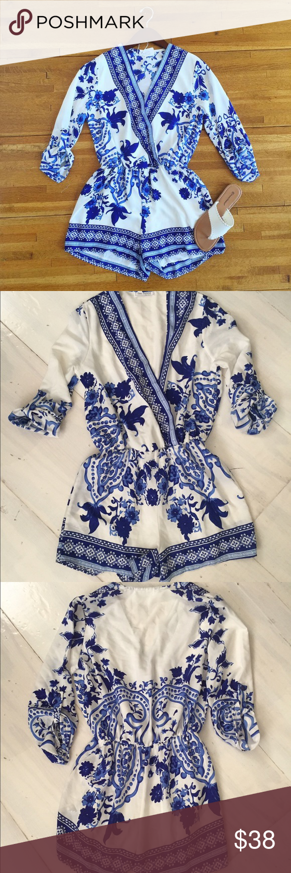 Boutique style romper This is my FAV romper I've ever bought! Only worn once for my birthday dinner. It's a size small and the shorts are lined inside. NO TRADES! Pants Jumpsuits & Rompers
