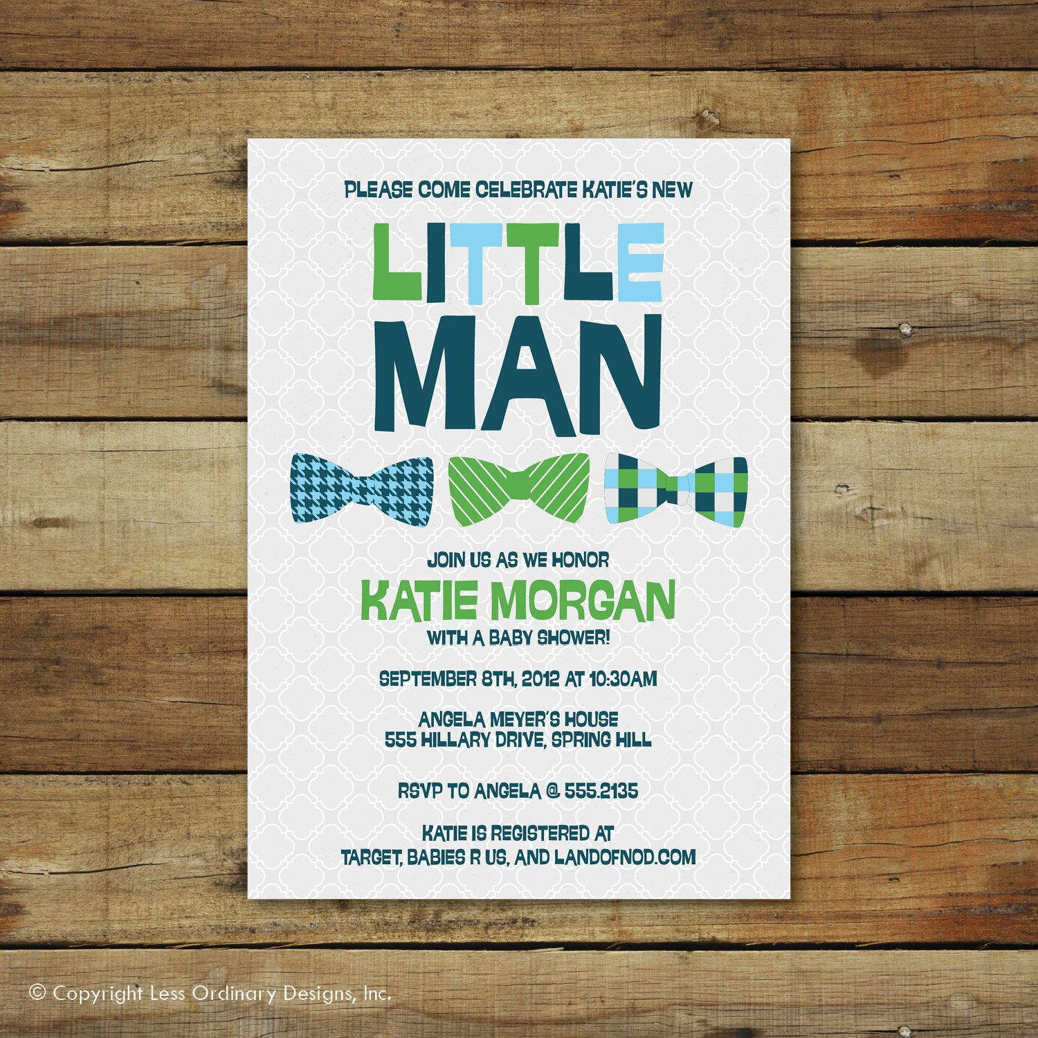 bow ties baby shower invitation, little man, baby boy bowties ...