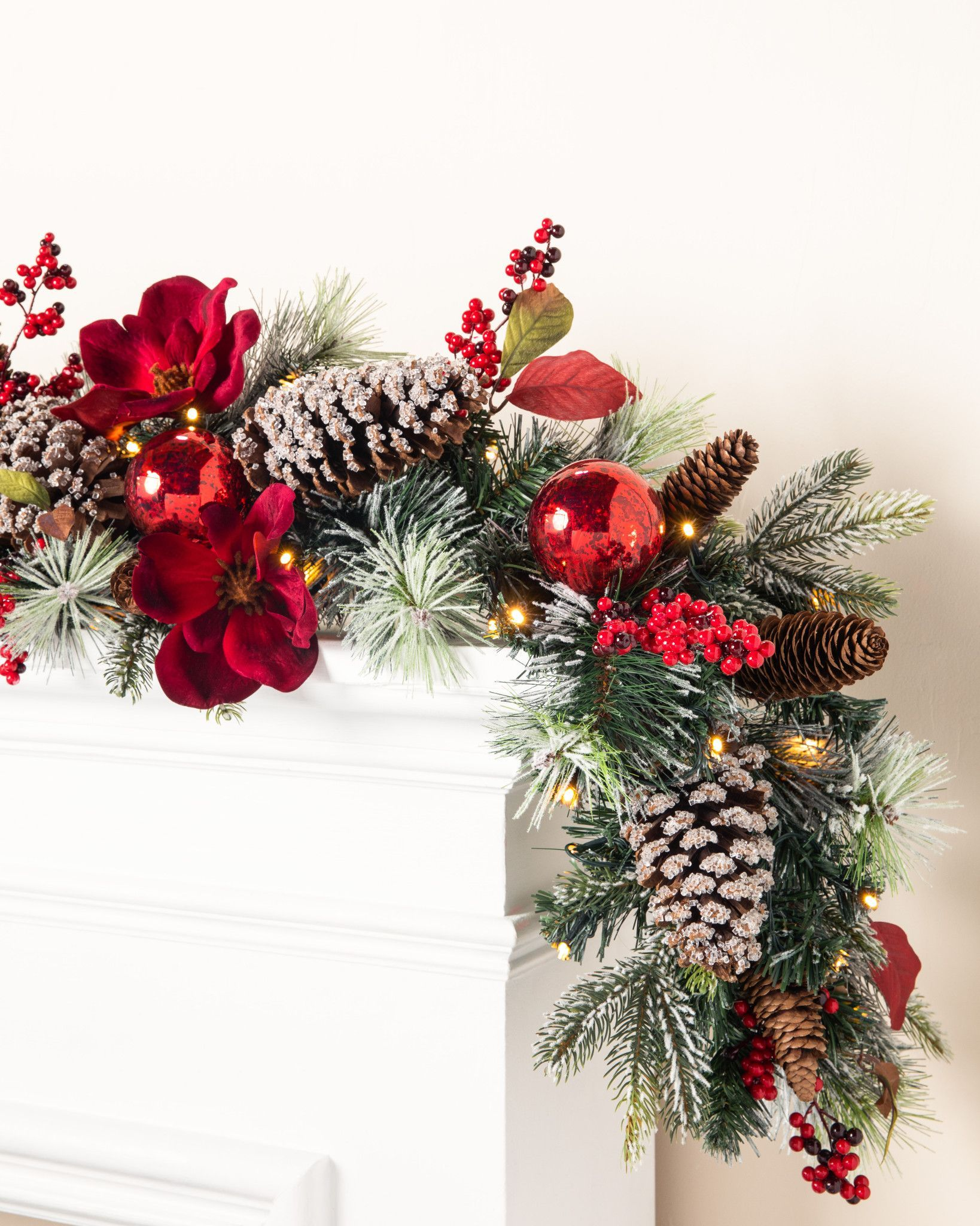 Mountain Chalet Christmas Wreath And Garland Balsam Hill In 2020 Christmas Garland Christmas Garland Staircase Christmas Decorations Garland