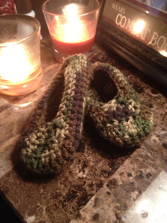 Cute Pair of Crocheted Baby Boys/Girls Camo Booites/Slippers - 6 to 12 Months  on Etsy, $6.00