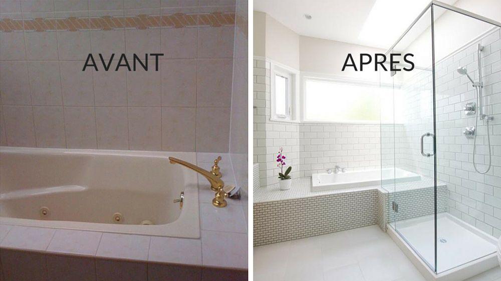 Avant   après  transformer une salle de bains quelconque en pièce