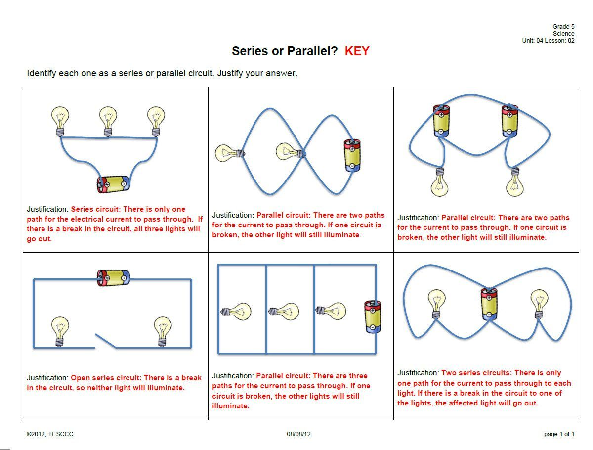 Series And Parallel Circuits Worksheet Answer Key Series And Parallel Circuits Circuits Science Paper Circuits