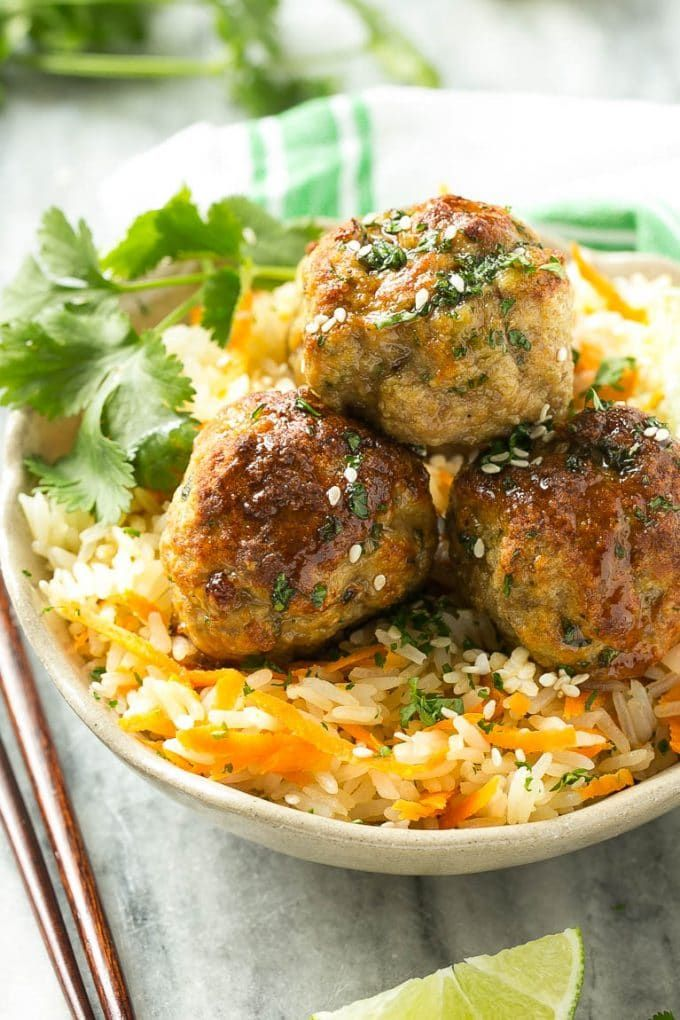 this recipe for baked asian turkey meatballs and carrot rice is a quick delicious and