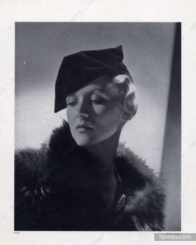 Rose Descat 1933 Miss Stutz Model, Velvet Beret, Horst