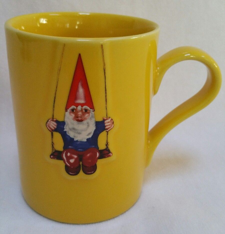 Vintage Kiss That Frog Cleen Yellow With Mug Swinging Gnome