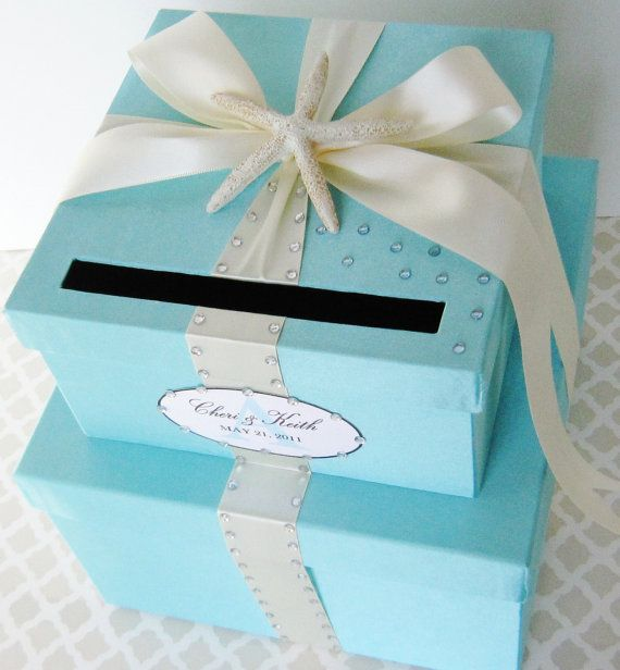 Wedding Card Box Tiffany Aqua Blue Beach Theme Card Holder Custom
