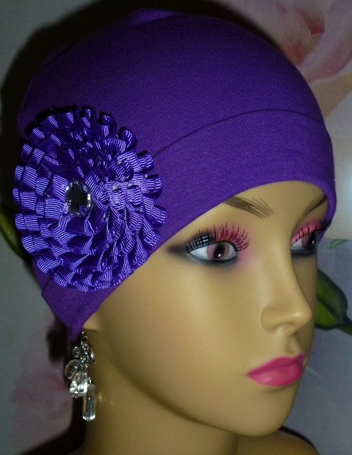 Purple Knit Chemo Hat with Satin Rosette, Knit Purple Chemo Hat with ...
