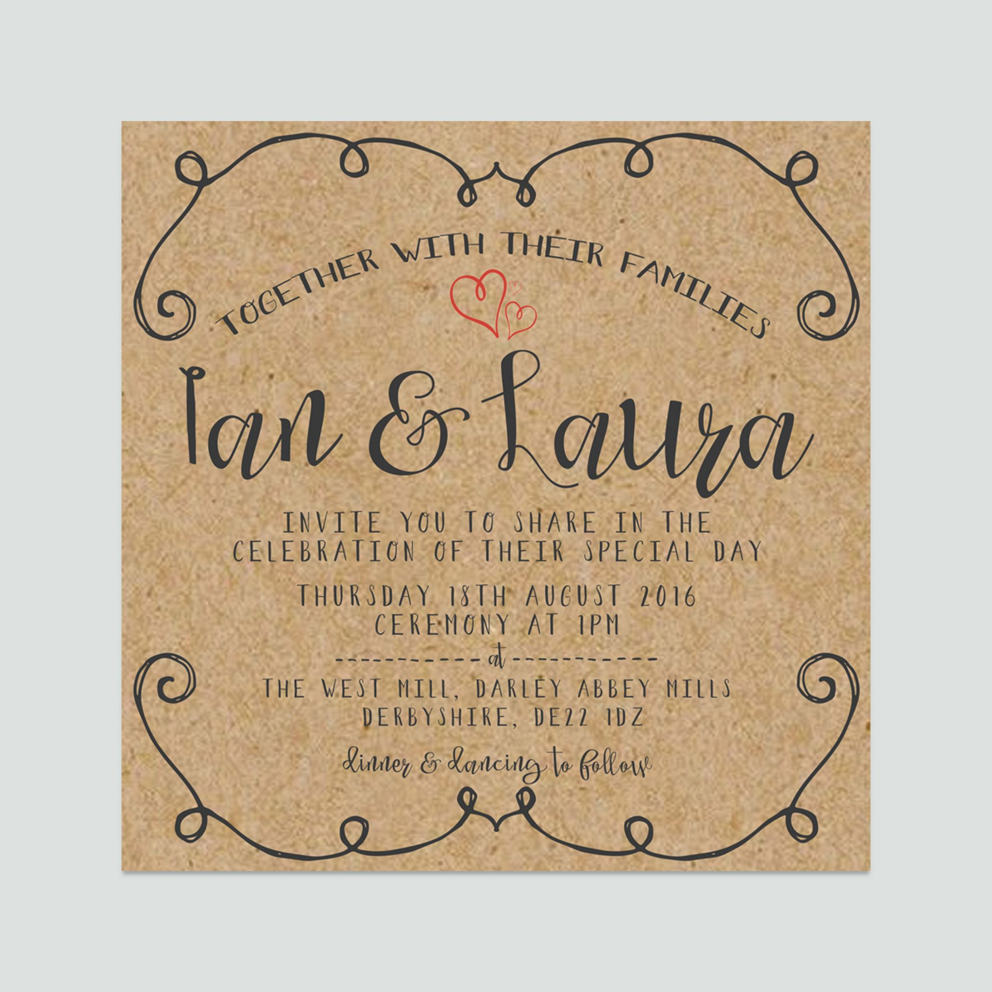 Square Rustic Decorative Border Heart Simple Wedding Invitation