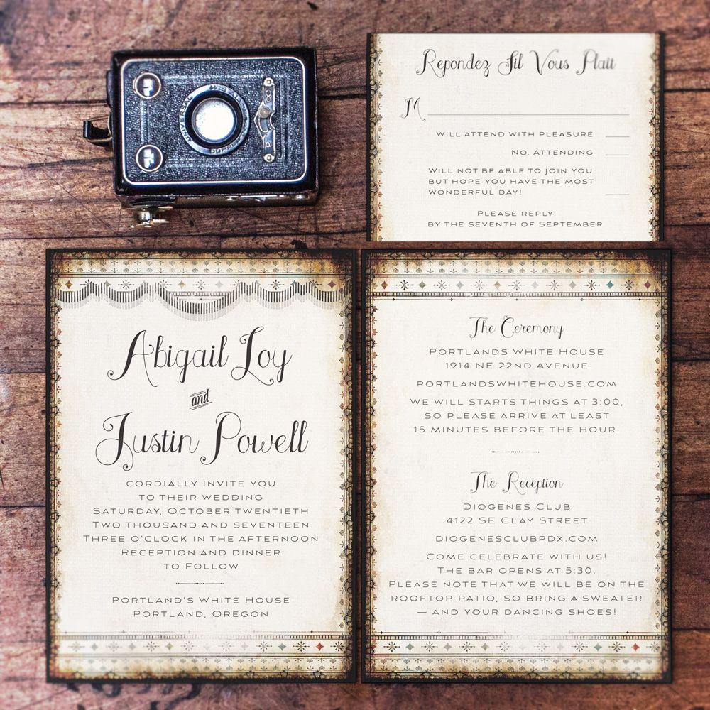 Majestic Vintage Rustic Wedding Invitations By Royal Steamline