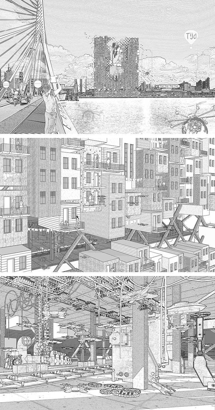Architecture Representation, Material Re-Proccessing Level Render, DeRotterdam Zuid, design, Render, Photoshop, Sketch