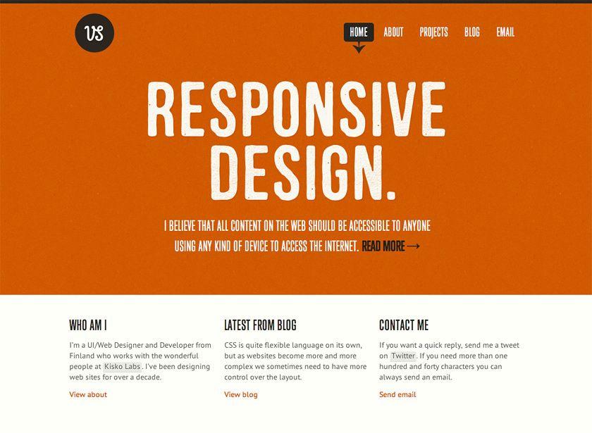 Screenshot of viljamis.com - Responsive Design and Typography