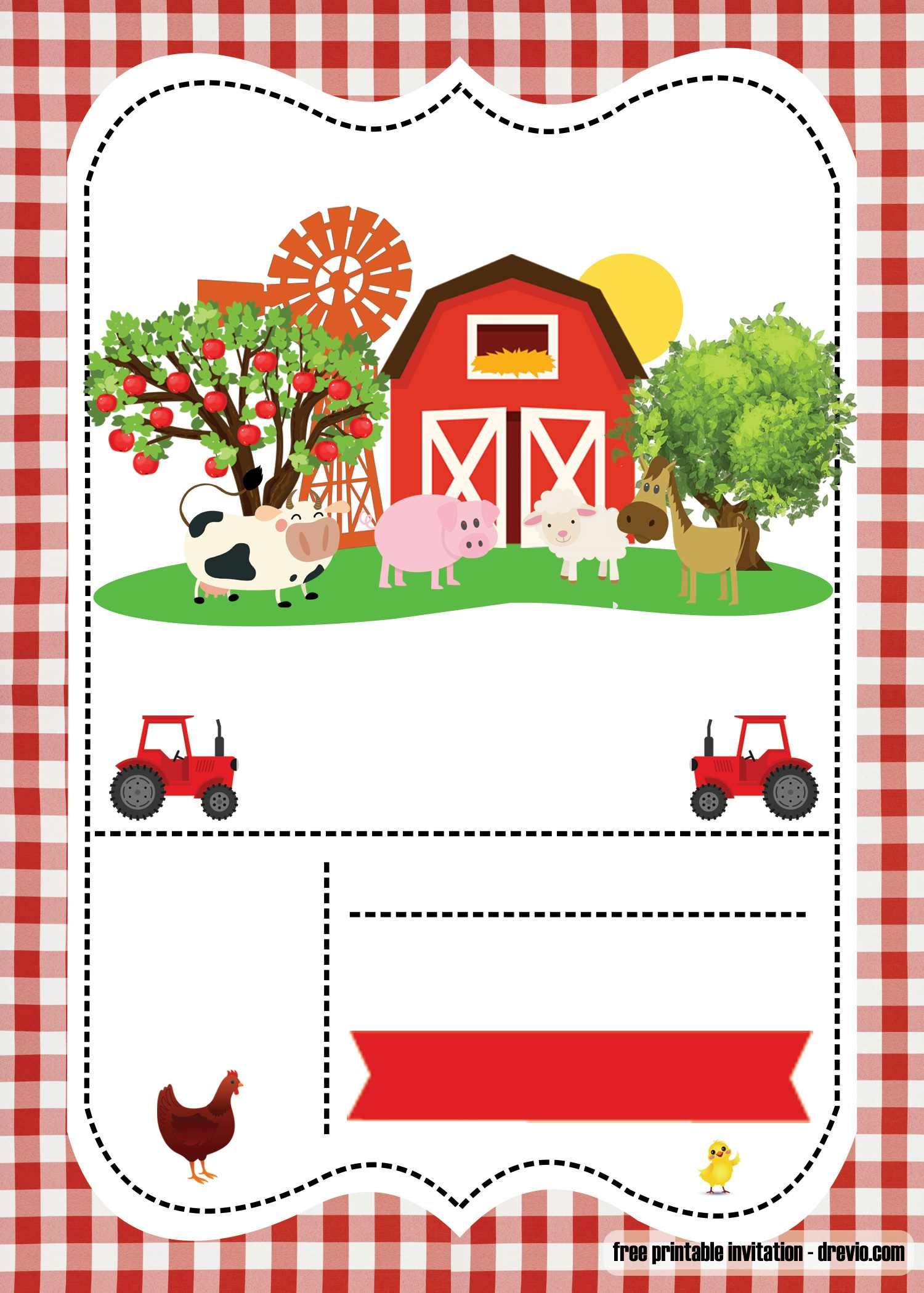FREE Farm Party invitation template – Printable  Farm animals