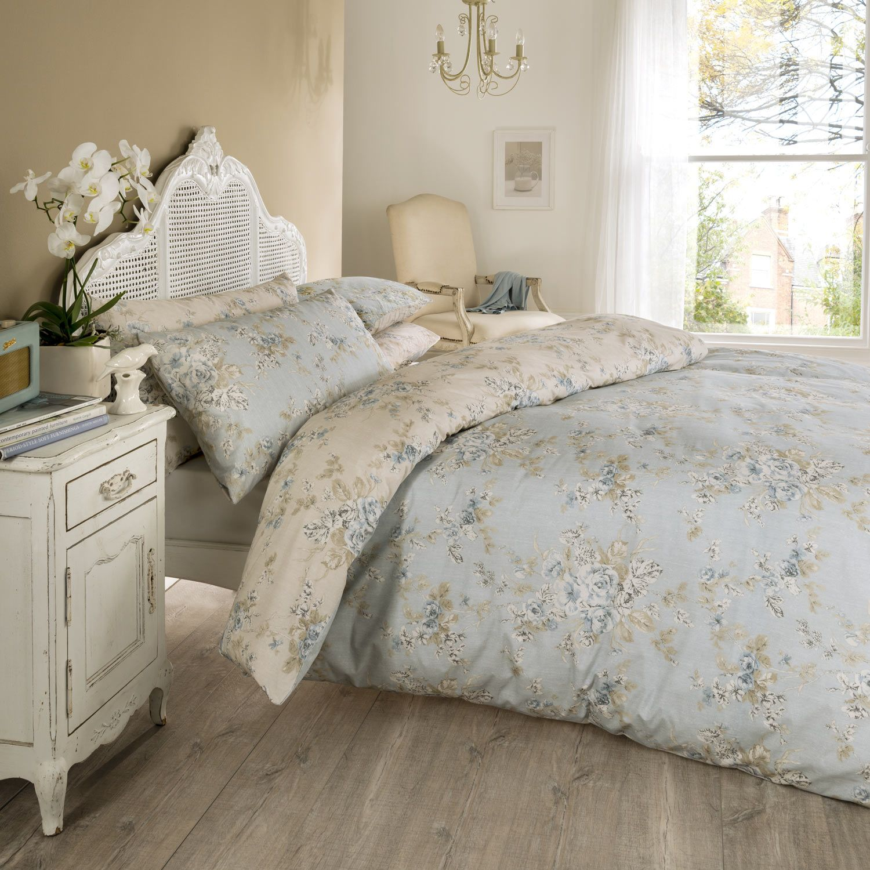 Vantona Rosa Floral Design Duvet Cover Set Blue Bed