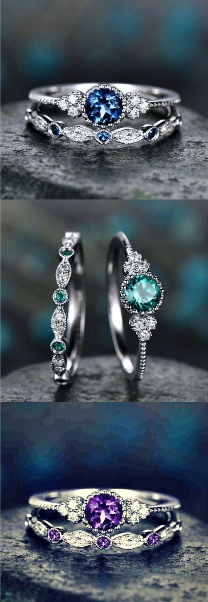 2Pcs Green Blue Stone Crystal Rings