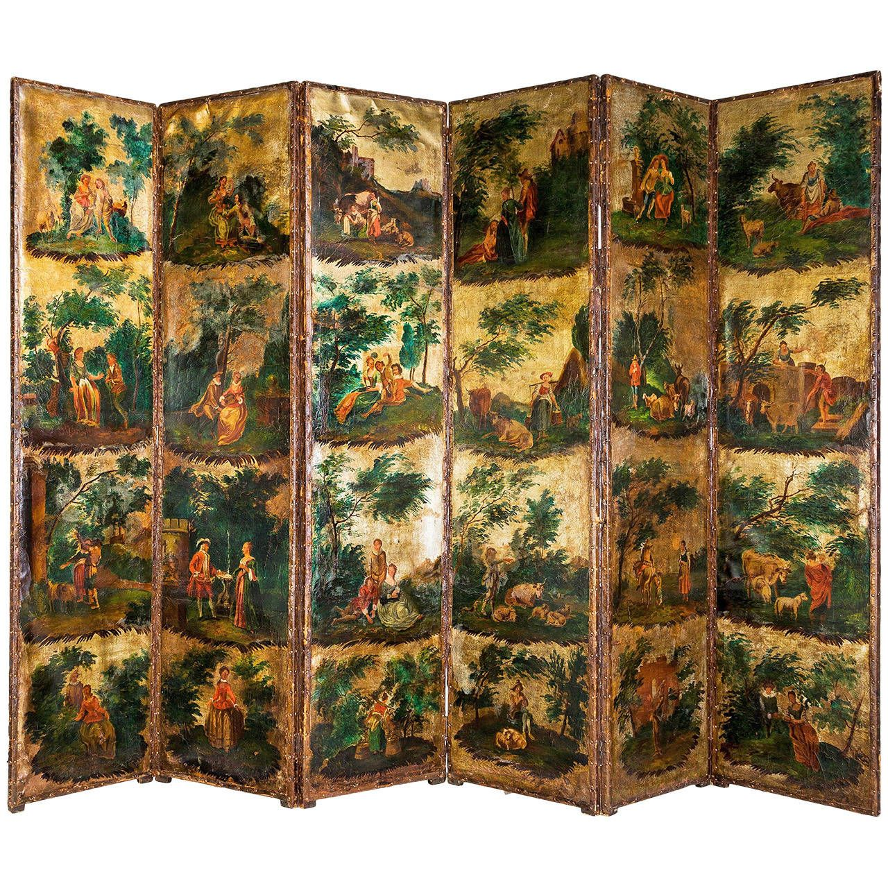 Mid-18th Century Six-Fold Screen | Fireplace screens, Room ...
