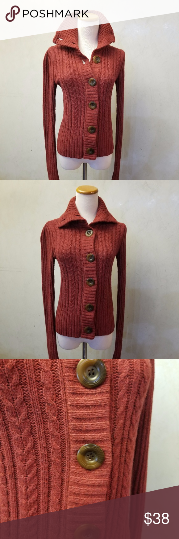 Red knit button down sweater | Big brown, Conditioning and Brown