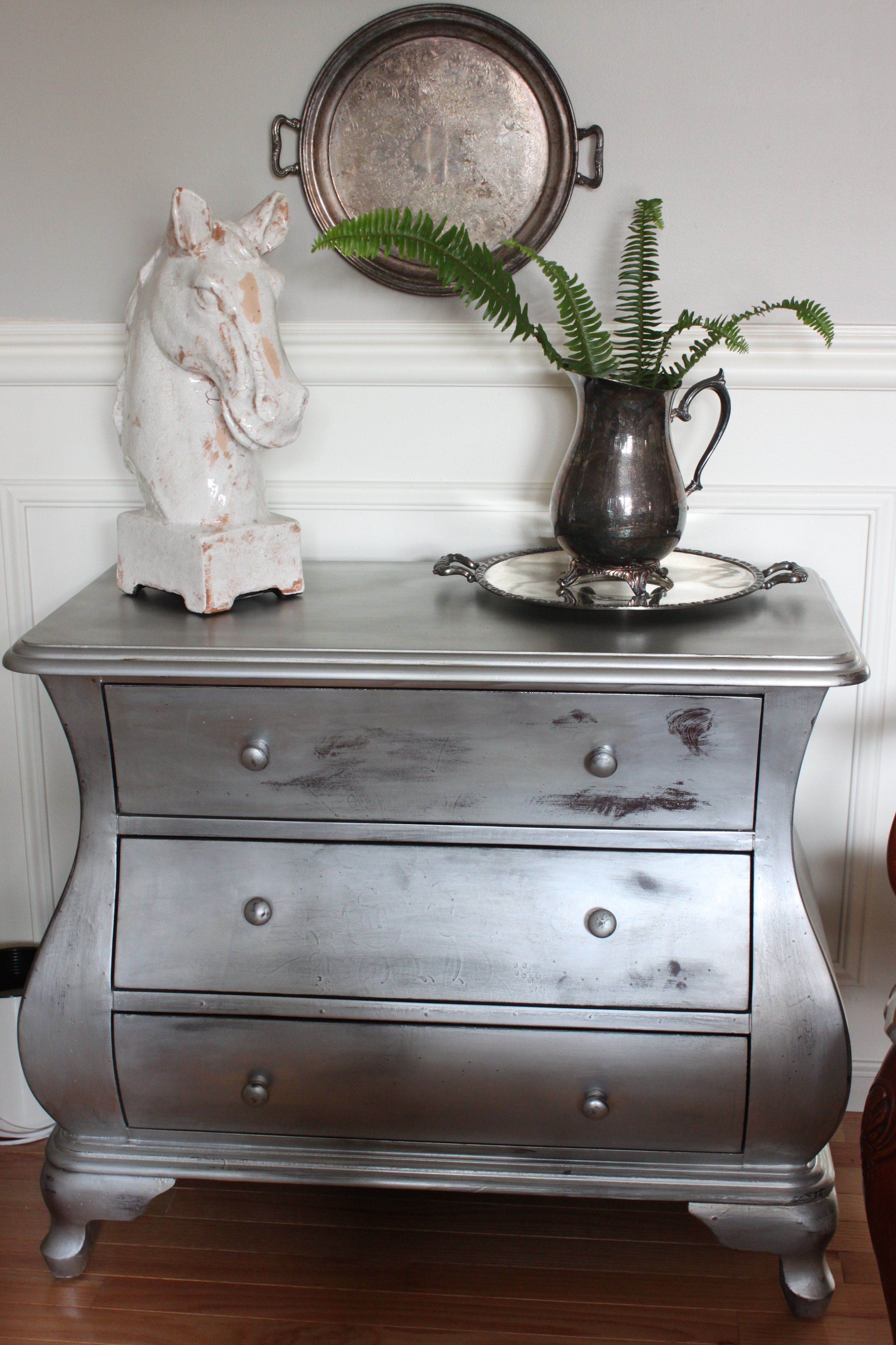 silver painted furniture. Silver Painted Bombe Chest Furniture P