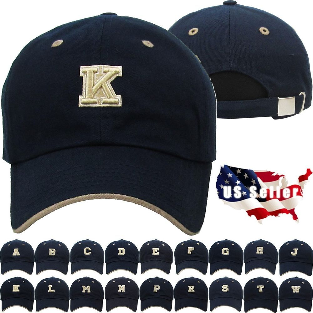 10.99 ABC Letter Embroidery INITIAL Navy Dad Hat Baseball Cap Adjustable 60b6fb5e17be