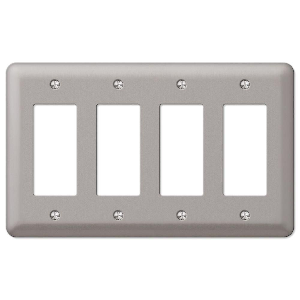 Amerelle Declan Steel 4 Gang Decora Wall Plate Pewter 2r4pw Plates On Wall Light Switch Covers Brushed Nickel