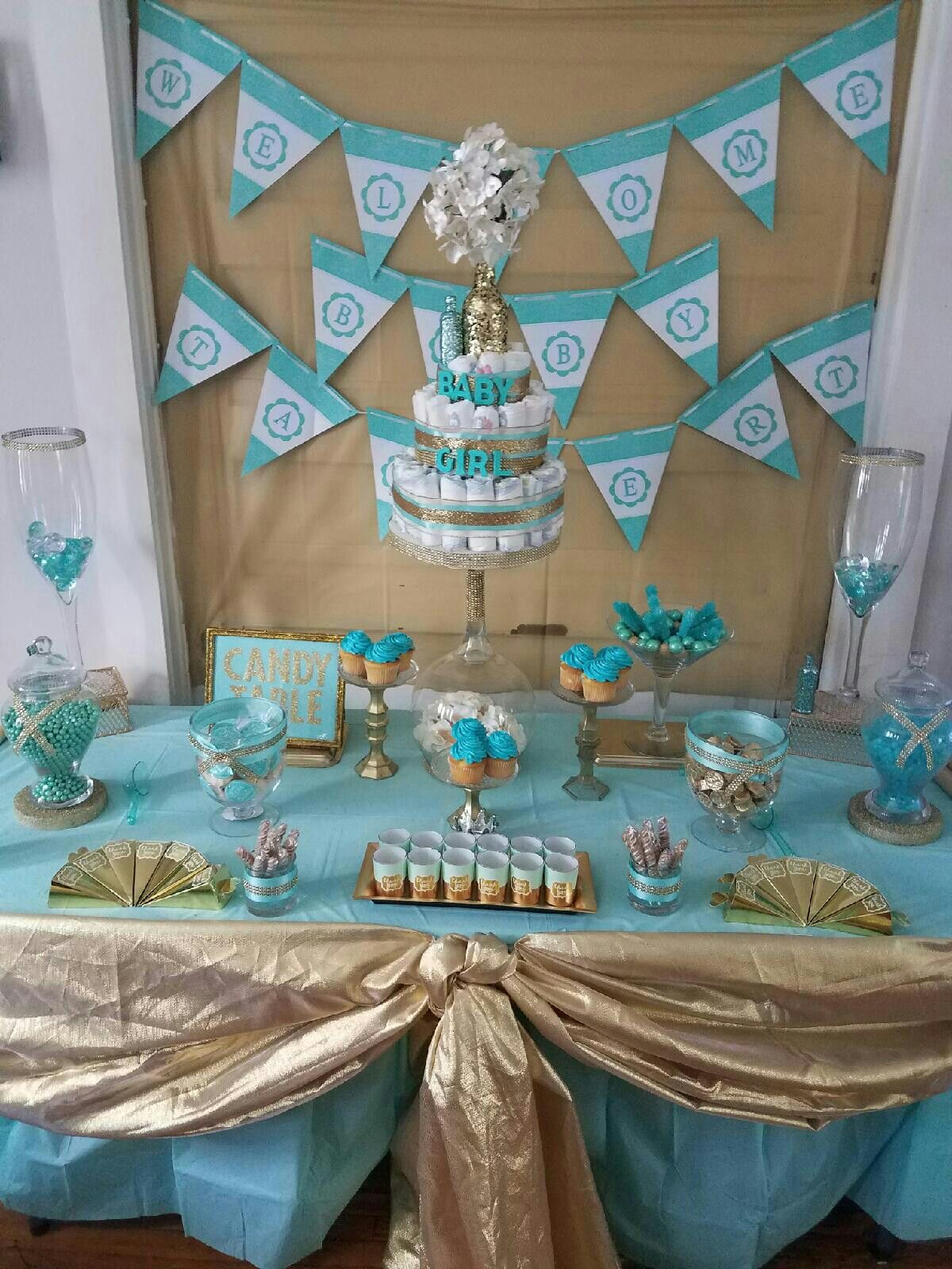 Teal Gold Baby Shower Candy Table Created By New Era Wedding Event Planning Baby Shower Candy Table Baby Shower Candy Gold Baby Showers