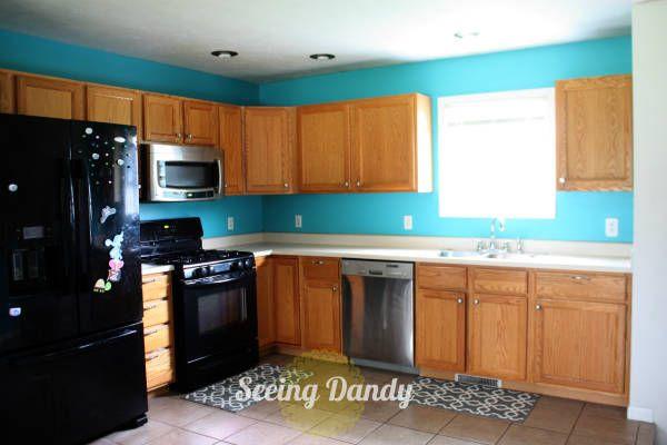 Turquoise Kitchen Walls Wood Cabinets Tan Tile Floor Kitchen