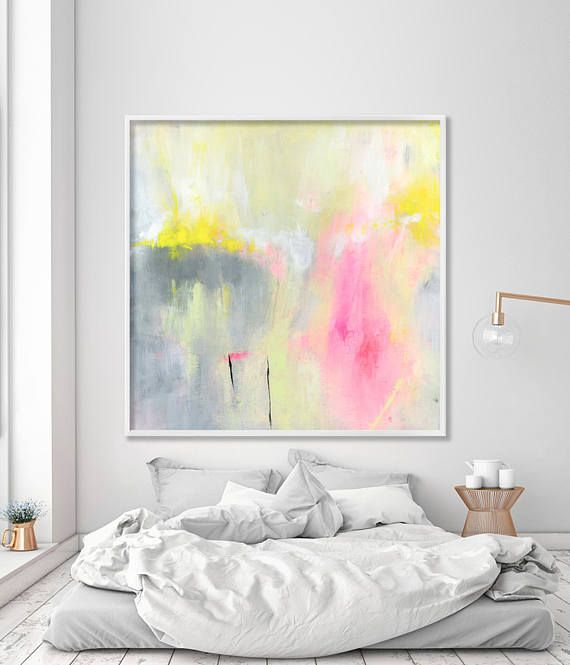 Simple Modern print Nursery prints of abstract painting colorful yellow pink grey fresh whimsical print on canvas by Duealberi Luxury - Model Of grey pink paint Review