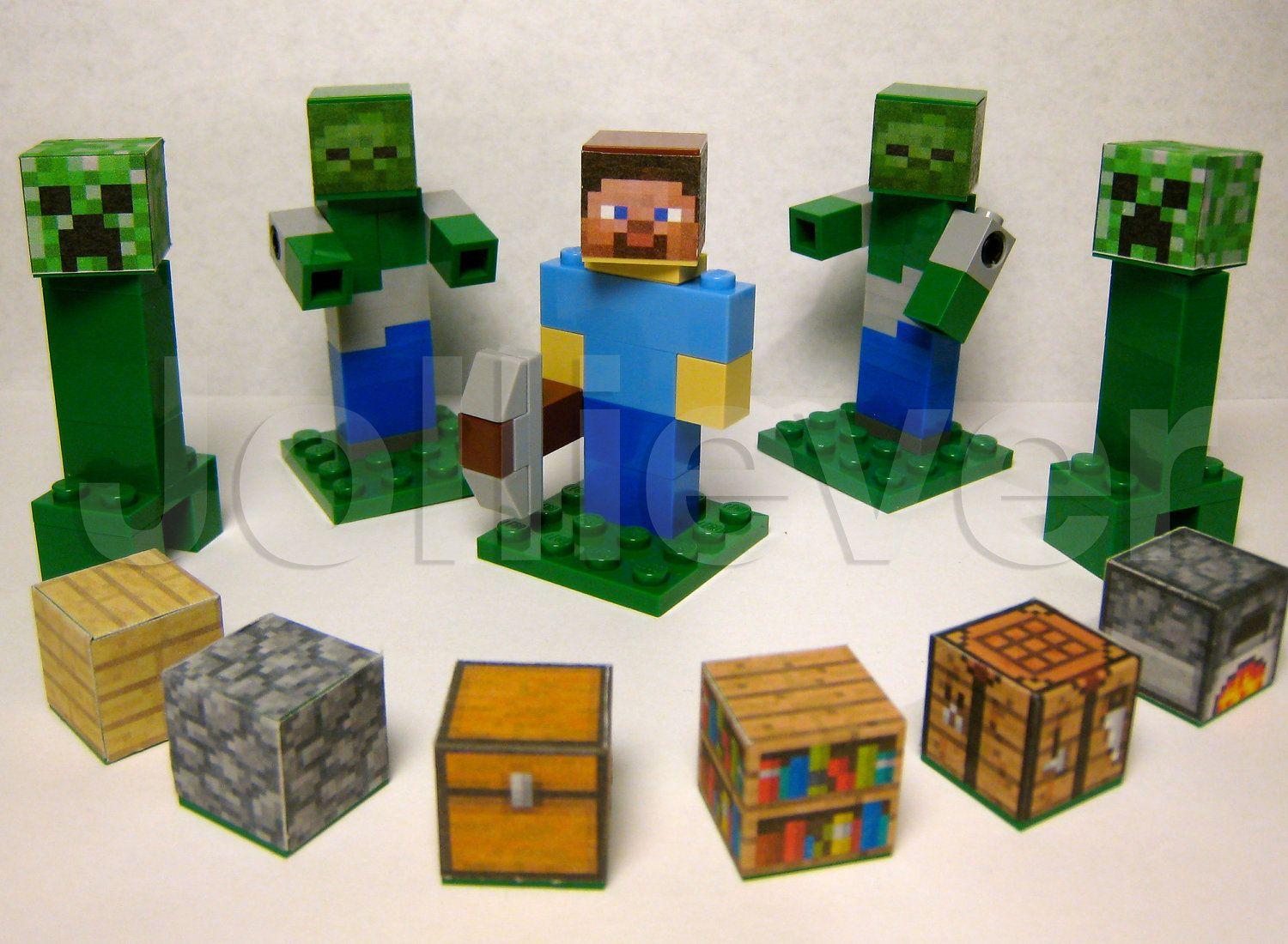 Lego Minecraft Custom Steve Character with Pickaxe 10 Zombies