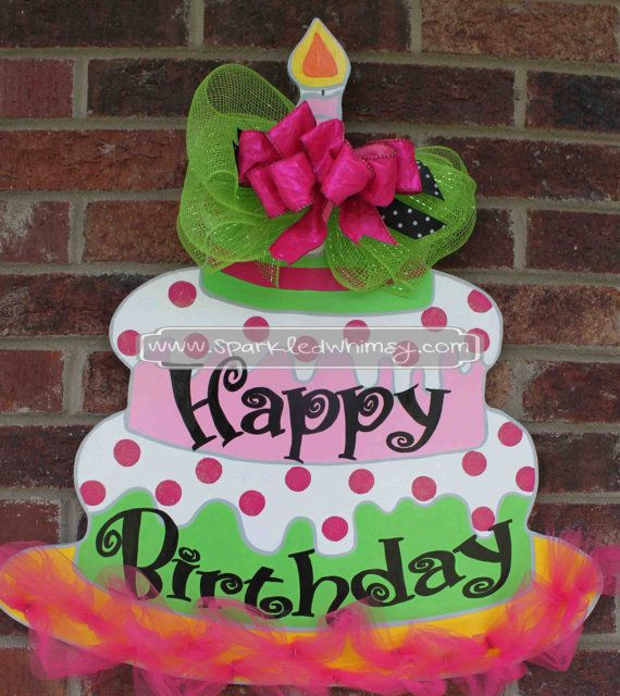 Garage Decorated For Party: This Hand-painted, Wooden, Whimsical Birthday Cake Adds A